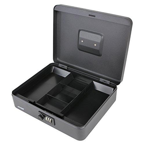 HMF 10017-02 Caja de caudales, cerradura de combinación 30 x 24 x 9 cm, negro