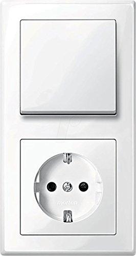 MERTEN M-SMART polarweiß glänzend (1x Steckdose, 1x Wechselschalter, 1x Rahmen 2fach, 1x Wippe)