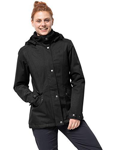 Jack Wolfskin Park Avenue Jacket, wind- & wasserdichte sowie atmungsaktive Winterjacke für Damen, wärmende Outdoor Jacke für Damen, Damen Jacke mit abnehmbarer Kapuze, Schwarz, M