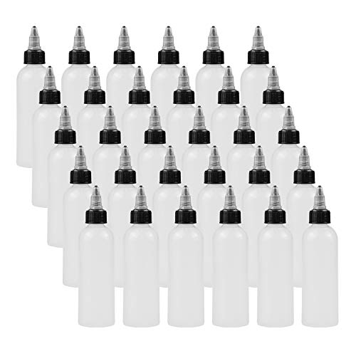 Bekith 30 Pack 4oz Boston Dispensing Bottles, Round LDPE Plastic Squeeze Bottle with Twist Top Caps