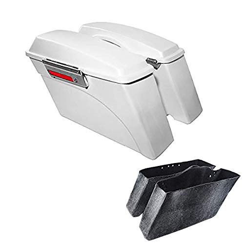 XFMT White Hard Saddlebags Saddle Bags Trunk W/Lid Latches Compatible with Harley 1993-2013