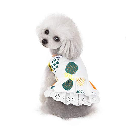 Hond Kleding Puppy Vest T-shirt Shirt Leuke Prinses Pyjama Kat Lente Zomer Meisje Hond Jurk Ananas Print Jurk Nieuw