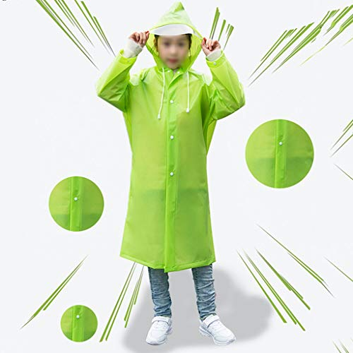 Raincoat Boys and Girls, Reusable Waterproof Ponchos, Best Accessories for Hiking, Cycling, Camping and Travel (Color : Green, Size : L)