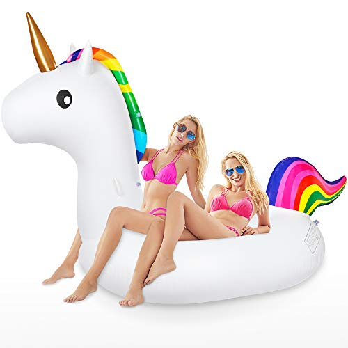 Jojoin Super Größe Einhorn Luftmatratze, 240×110×150cm Aufblasbares Einhorn Pool Floß, Aufblasbar Schwimmen Sommer Spielzeug im Freien mit Reparaturpflaster für Erwachsene und Kinder
