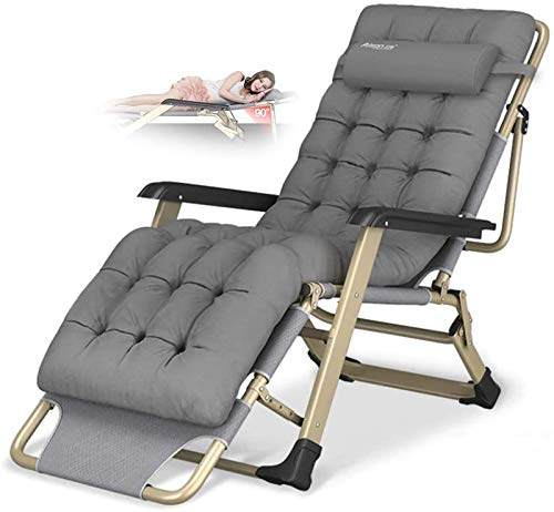 HXIAOQ Reclining Chair Folding Zero Gravity Lounge Chair Oversize XL, Deck Chairs Cotton Cushion for Garden Outdoor Patio Sun Loungers Bed Recliner Loading up to 300kg with Head Pillow