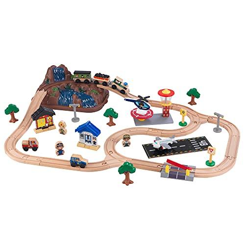 KidKraft- Juego de tren con vía de madera para niños, vía clásica con accesorios incluidos (61 piezas) Bucket Top Mountain Train (17826) , color/modelo surtido
