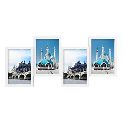 SONGMICS Bilderrahmen-Collage, für 4 Fotos in 10 x 15 cm (4 x 6 Zoll), Fotorahmen, Wanddekoration, modern, mit Glasscheibe, weiß RPF27WT