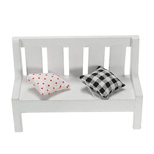 Newin Star Mini-Holzbank für Puppenhaus, Garten usw., Weiß