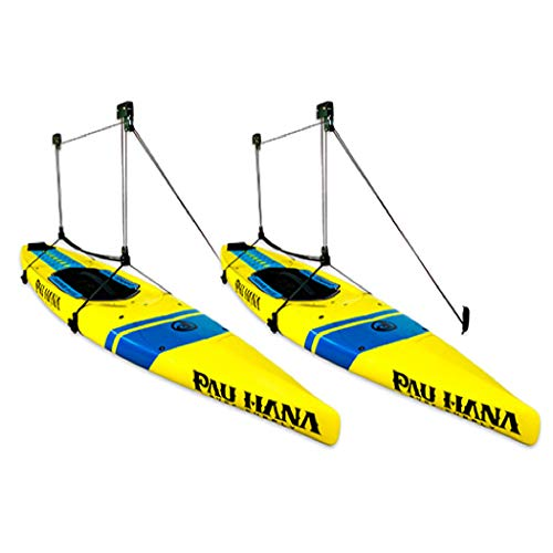 StoreYourBoard 2 Pack Paddleboard Ceiling Storage Hoist, Hi-Lift Overhead Rack, Adjustable Pulley System, Home and Garage Hanger, Easy Lifting SUP Accessory (Classic)