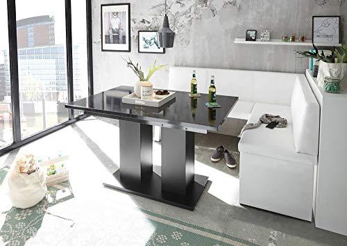 MyStyleWood Eckbank Olga Weiß mit Säulentisch Schwarz Küchenbank Sitzecke dick gepolstert Kunstleder pflegeleicht stabiles Holzgestell 168x128R