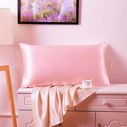 Juwenin Home Funda de almohada de satén sedoso para el cabello y la piel facial para evitar arrugas cremallera oculta (rosa, estándar (50 x 75 cm) 2 unidades)