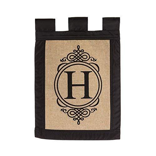 "Evergreen ""H"" Monogram Double-Sided Burlap Garden Flag - 12.5""W x 18""H"