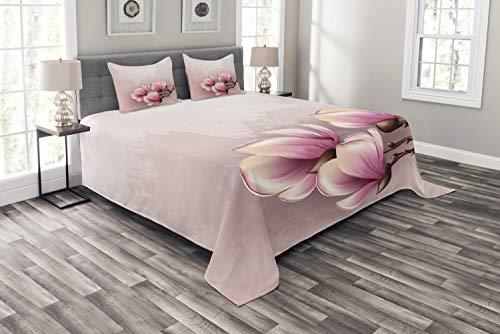 ABAKUHAUS Magnolie Tagesdecke Set, Fragile Blütenblätter, Set mit Kissenbezügen Sommerdecke, für Doppelbetten 220 x 220 cm, Baby Pink Braun und Rosa