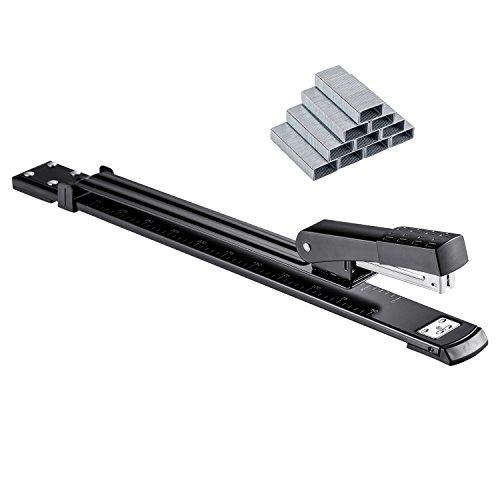 """OMAIC Stapler, 12"""" Long Stapler, Long Reach Stapler, Long Arm Stapler with Staples, 20 Sheets Print Papers-Black"""