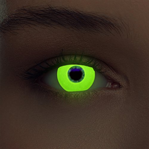 Designlenses Incandescente Lenti a Contatto Colorate Giallo Senza diottrie per Halloween Costume + Gratis Caso di Lenti Modello Glowing Yellow