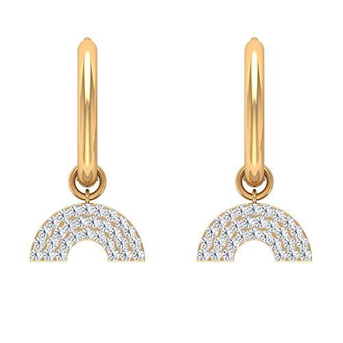 HI-SI Diamond Drop Hoop Earrings, Half Disc Earrings, Modern Earrings, 14K Yellow Gold, Pair