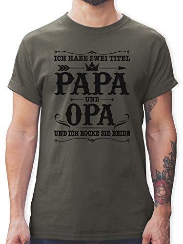 Vatertagsgeschenk Papa - Ich Habe Zwei Titel Papa und Opa/Vintage - schwarz - XL - Dunkelgrau - ich Habe Zwei Titel Papa und Opa Tshirt - L190 - Tshirt Herren und Männer T-Shirts