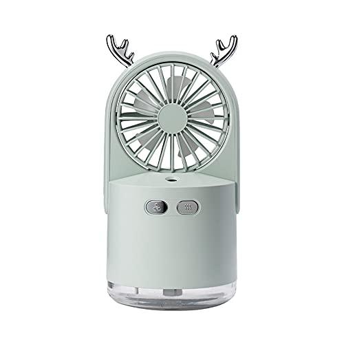 LOULE Mini ventilador de pulverización portátil, ventilador de carga USB, ventilador hidratante, ajuste de tres niveles, humidificación de larga duración, adecuado para escritorio, oficina, dormitorio
