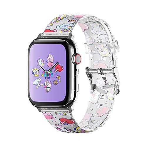 elago Pulseira BT21 compatível com Apple Watch Band 38 mm, 40 mm, 42 mm, 44 mm, compatível com iWatch Series 6/SE/5/4/3/2/1, pulseira protetora macia [Produto oficial] (42 mm/44 mm, 7 sabores)