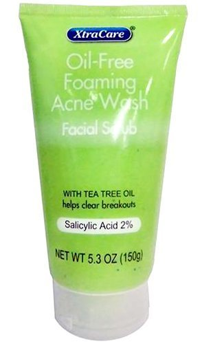 XtraCare OIL FREE FOAMING ACNE WASH Facial Scrub 5.3 oz. with Tea Tree Oil by XtraCare