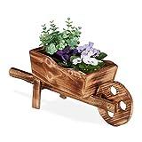 Relaxdays Pflanzschubkarre, gebranntes Holz, Gartendeko, Vintage Design, zum Bepflanzen, HxBxT: 19 x 47 x 15 cm, Natur