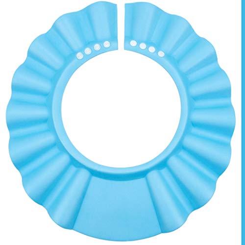 Shampoo Schutz für Kinder, Haare waschen ohne Tränen, für 0-9 Jahre, mit Clip-Verschluss, Größen-verstellbar, 100% wasserdicht, Augenschutz und Ohrenschutz, Haarwaschhilfe, Kinder Duschkappe, blau