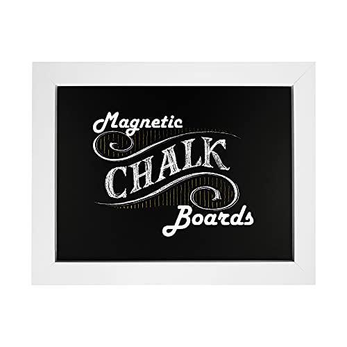 """Loddie Doddie Magnetic Chalkboard - 11"""" x 14"""" Magnetic Chalk Board for Wall Decor - Easy-to-Erase Chalkboard White Frame for Kitchen - Framed Magnet Blackboard - Hanging Black Chalkboards"""