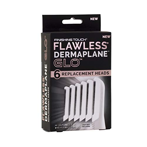 Finishing Touch Flawless Dermaplane Glo Facial Exfoliator Replacement Heads Only, Dermaplane Tool Not Included, Rose Gold, 6 Count