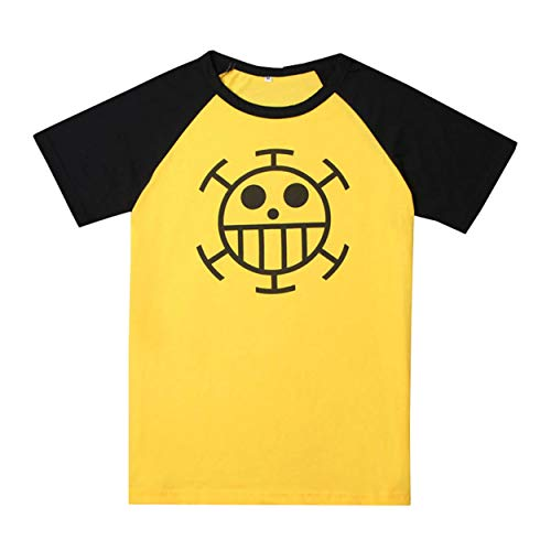 Weimisi One Piece Anime Trafalgar Law Short Sleeve T-Shirt Cosplay Costume (Yellow L)