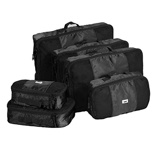 ANSIO Packing Cubes, Travel Luggage Organiser Set, Travel Cubes, Compression Bag Suitcase, Value Set for Travel and Home Storage, Small, Medium, Large, XL - (6 Piece Set) - Black