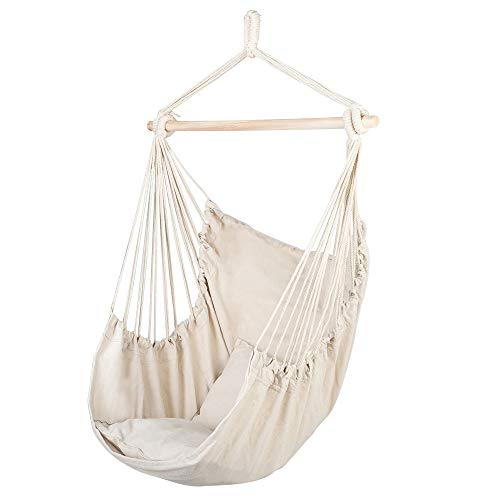 U-Kiss Hammock Chair Hanging Rope Swing-Max 300 Lbs,Cotton Rope Weaving Seat with 2 Canvas Cushions,Perfect for Yard, Bedroom, Patio, Porch, Indoor/Outdoor (Beige)