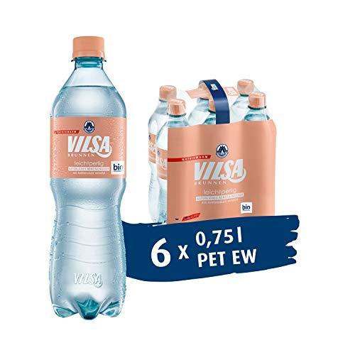 VILSA Brunnen Mineralwasser leichtperlig, 6er Pack Wasser mit wenig Kohlensäure, natriumarm, in Einwegflaschen (6 x 0,75 l PET)