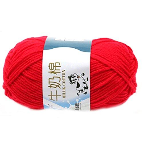 Glatte weiche Milch Cotton Natural Hand Strickwolle Garn Ball Baby Wool Craft Rot