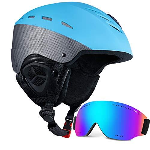 SKL ki Helmet with Visor Snow Helmet and Goggles Set Kids Youth Unisex Adult Sport Ski Snowboard Snowmobile Helmet with Snow Goggles, Matte Blue, L