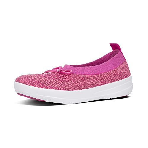 FitFlop Womens Uberknit Ballerina Bow Ballet Flats Pink 5.5 Medium (B,M)
