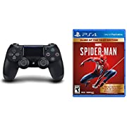 DualShock 4 Wireless Controller for PlayStation 4 - Jet Black & Marvel's Spider-Man: Game of The Year Edition - PlayStation 4