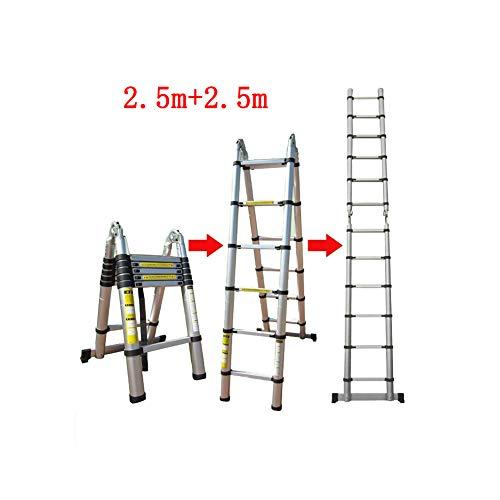 QARYYQ Telescopische Ladder Rechte Herringbone Dubbel Met Binnen Ladder Vouwen Draagbare Ladder Dikke Aluminium Stap kruk