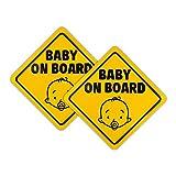 Pegatina Baby on Board Coche, 2 piezas Etiqueta Magnético Pegatinas de Seguridad Señal de Advertencia para Niños, Fácil de Instalar, Impermeable (12.5cm)