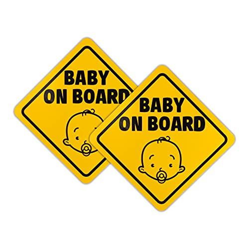 Baby on Board Schild, 2 Stück Baby on Board Magnet Zeichen Auto, Selbstklebend Vinyl Vorsicht Aufkleber für Fahrer, Reflektierend in der Nacht, Wasserdicht(12.5cm, Gelb)
