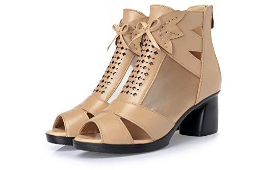LXYYBFBD Women'S Boots, Boheemse Retro Roman Fish Mouth Schoenen Zomer High-Top Sandalen Met Grote Maat Mode Enkele Laarzen Lente En Herfst Laarzen Dames Korte Laarzen Camel Mesh
