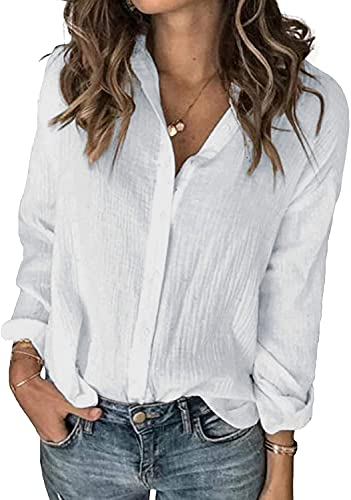 SAOVERE Womens Long Sleeve Linen Shirts Casual Buttons Down Soft Plain Roll Up Solid Blouses White