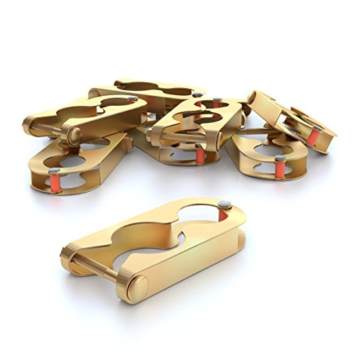 Ampel 24 Metallschellen Set zur Befestigung von Trampolin Netzpfosten, Befestigungsklammern für Trampolin Stangen bis 39 mm Durchmesser, 12 Stück, Gold