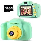 TekHome Fotocamera per Bambini, Mini Fotocamera Digitale Ricaricabile, Videocamera Fotografica Antiurto 1080P con Scheda TF da 32 GB, Regalo Giocattolo per Ragazze e Ragazzi 3-12 Anni