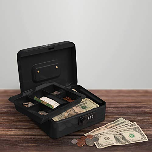 Stalwart Cash Box – Locking Money Safe with Removable 5 Slot Coin Tray and Combination Entry for Yard Sales, Markets and Concession Stands (Black)