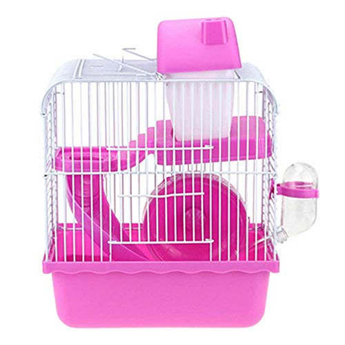Small Animal Kooi Habitat met accessoires, rat Konijnenhok Ferret Chinchilla Platform Feeding Habitat Base Ladder,Pink
