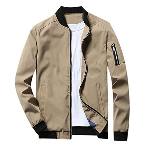 Mens Outwear Jacket Coat, Men's Slim Fit Solid Color Lightweight Softshell Flight Bomber Jacket Coat Plus Size M-6XL Khaki
