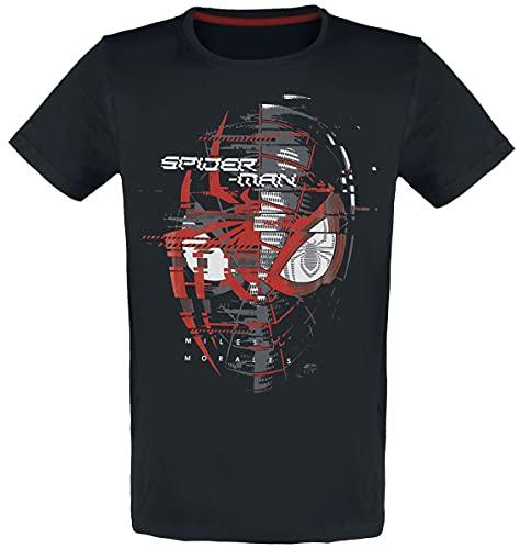 Spider-Man Miles Morales - Spider Head Hombre Camiseta Negro S, 100% algodón, Regul