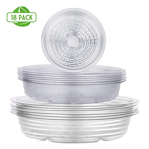 Remiawy Clear Plant Saucers 18 Pack 6/8/10 Inch Flower Pot Drip Trays for Indoor amp Outdoor Plants Garden Saucers Plant Pot Saucer Trays
