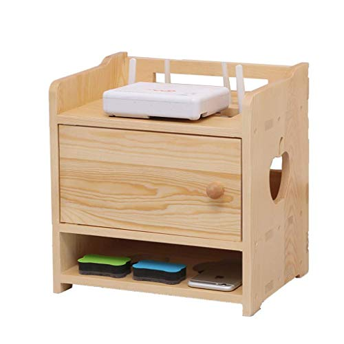Household Necessities/houten kabel, organizer, kraaten, router, draadloos, van massief hout, opbergdoos, voor woonkamer, huis, glad oppervlak, gemakkelijk te reinigen 32CM*23CM*31CM Geel