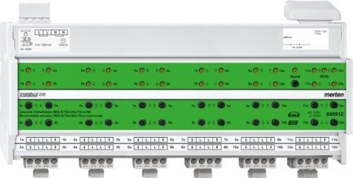 Merten 649912 Jalousie-/ Schaltaktor REG-K/12x/24x/10 mit Handbetätigung, lichtgrau